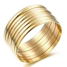 gold bangle bracelet yellow images Carfeny jewelry high polish set of 7 pieces stacked jpg