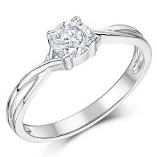 gold engagement rings uk 9ct white gold half carat diamond solitaire twist engagement ring