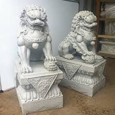 large foo dogs statues granite fu temple lions