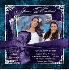 photo going away invitation blue royal purple