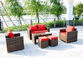 6 piece outdoor pe rattan wicker patio furniture sectional sofa