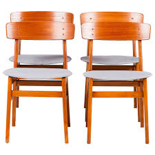 danish farstrup square back dining chairs in teak set of four