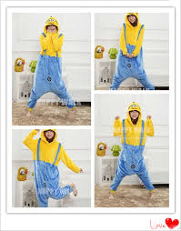 Despicable Minion Costume 2017 Winter Christmas Sleepwear Hoodie Pyjamas Despicable