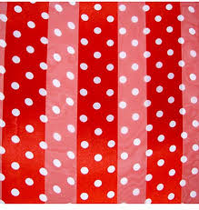 red and white polyester 21x21 satin stripe polka dots scarf