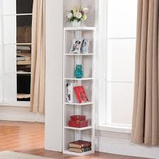 Shelving Furniture Living Room by Amazon Com Topeakmart 5 Tier White Wood Wall Corner Bookshelf