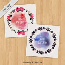 birthday cards with floral wreaths with watercolor stains vector