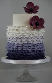 double height ruffle tea cake with purple ombre colour