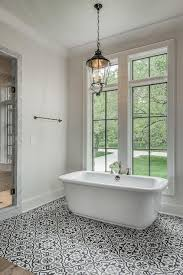 Bathrooms With Freestanding Tubs Black And White Mediterranean Bathroom Features A Lantern Hanging