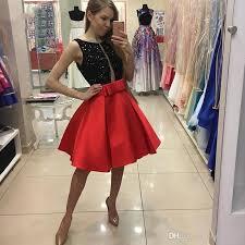 chic black sequin beaded red satin mini prom dresses cheap