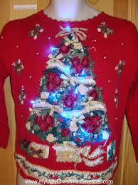 Ugly Christmas Sweater With Lights Up Ugly Christmas Sweater 80s Style Tree