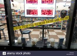 halloween tape window of gas station convenience store with halloween police