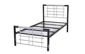 Atlanta Bed Frame Metal Beds Atlanta 4ft6 Silver And Black Metal Bed Frame By
