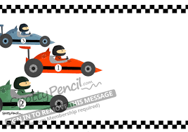 racing cars printable party invitation spottypencil