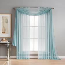 Blue Valances Window Treatments Window Elements Diamond Sheer Voile 56 In W X 216 In L Curtain