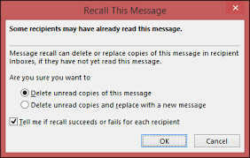 recall or replace an email message that you sent outlook
