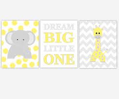 baby nursery canvas wall art yellow gray grey dream big little one