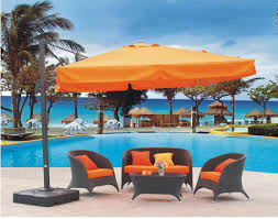Orange Patio Umbrella by Swimming Pool Outdoor Swimming Pool With Decorative Umbrella