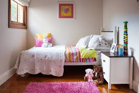 pink shag rug in kids traditional with hidden gun room next to