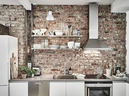Exposed Brick Wall by Featuring A Unique Decor In The Kitchen With Exposed Brick Wall