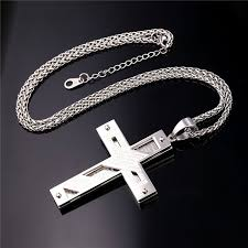 colored cross necklace images Gold color stainless steel cross necklace for men women jpg