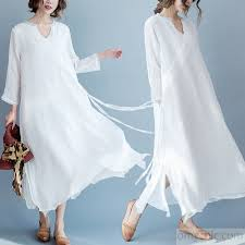2017 flowy fine white linen maxi dresses summer caual silk dress traveling gown1 jpg