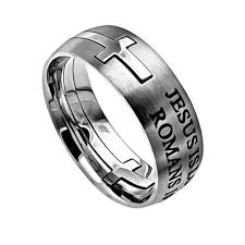 bible verse rings cross ring for men jesus is lord romans 10 9 bible verse