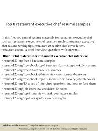 Sample Of Chef Resume Top8restaurantexecutivechefresumesamples 150723085535 Lva1 App6891 Thumbnail 4 Jpg Cb U003d1437641788