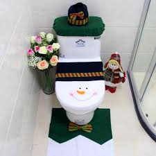 3pcs set snowman style toilet seat cover and rug bathroom set