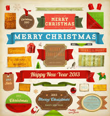 Vintage New Years Decorations by Set Of Vector Christmas Ribbons Old Dirty Paper Textures And