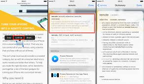 how to manage dictionaries and look up word definitions on iphone