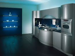 hign tech style beautiful design interior metallik kitchen in high