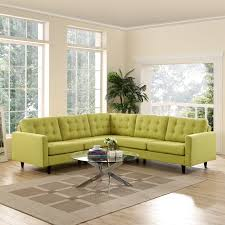 Fabric Sectional Sofa Modway Empress 3 Piece Fabric Sectional Sofa Set In Wheatgrass