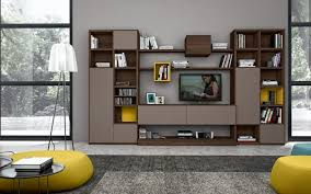 living room brown modern big tv stand cabinet storage grey wall