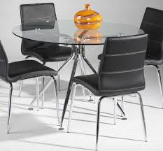 Leather And Chrome Chairs Elegant Dining Room With Round Glass Dining Table And Chrome Legs