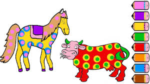 horse and cow coloring pages drawing animal learn colors for