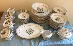 white china pattern 3939 lot of 63 pieces china set white platinum pattern