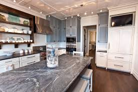 Kitchen With Track Lighting by Soapstone Kitchen Beach Style Decorating Ideas With Open Shelves