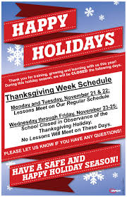 thanksgiving schedule broadway family karate