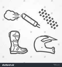 long road moto boot set cross offroad motorcycle parts line stock vector 471604961