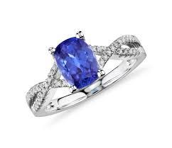 tanzanite and diamond infinity ring in 14k white gold 8x6mm