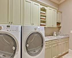 interior easy laundry room design with white wooden wall