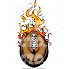 vector of a speeding leather football with flames design by