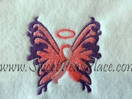awareness ribbons butterfly cancer ribbon applique embroidery