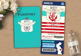 baby shower coed nautical passport and ticket baby shower invitation baby boy