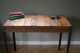 Small Wooden Desk Rustic Reclaimed Wood Desk Table With Industrial Iron Legs
