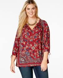 peasant blouse plus size lucky brand plus size v neck printed peasant top tops plus