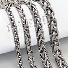 stainless chain link necklace images 3 4 5 6 7 8mm 18 36 quot mens silver stainless steel wheat braided jpg