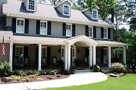 gray exterior paint black shutters exterior traditional with porch