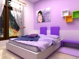 Blue Purple Bedroom - blue bed on white platform completed light purple bedroom black