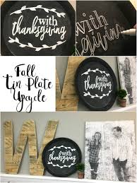 thrift store tin plate upcycle for fall and thanksgiving